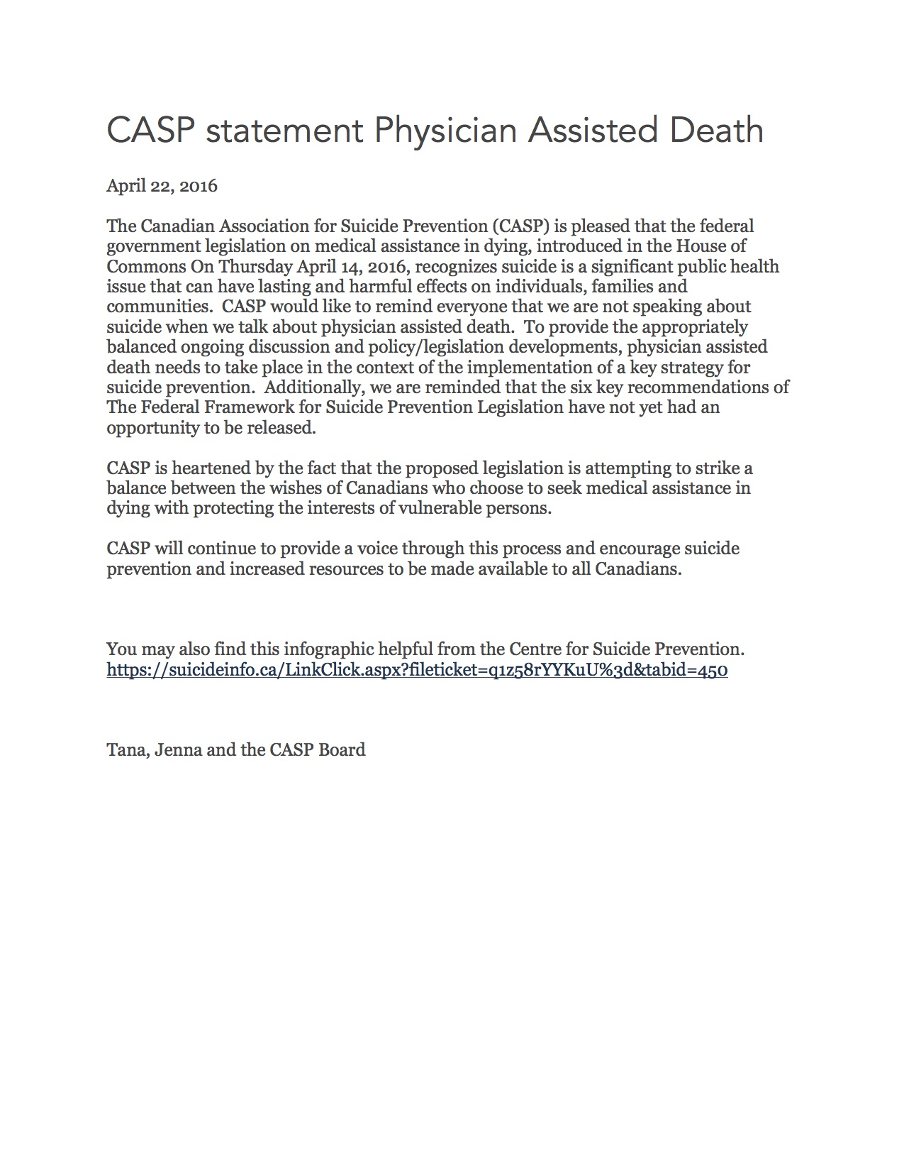 9-CASP statement Physician Assisted Death