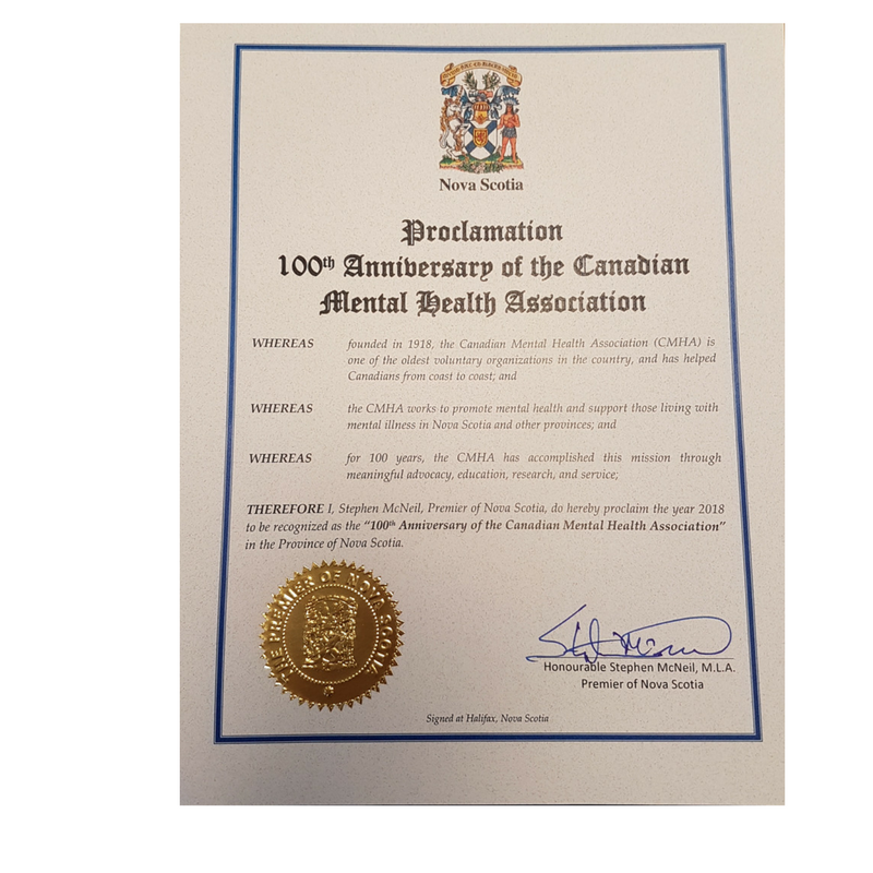 Proclamation Recognizing CMHA's 100th Anniversary from NS Premier