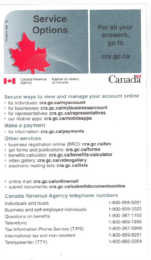 CRA Contact numbers